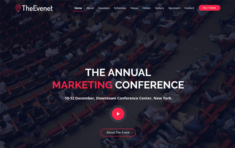 The Event Bootstrap free template download techusable