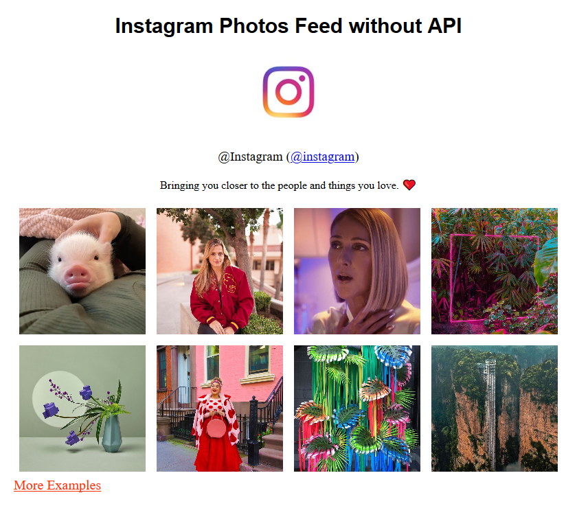 Instagram Photos Feed without API