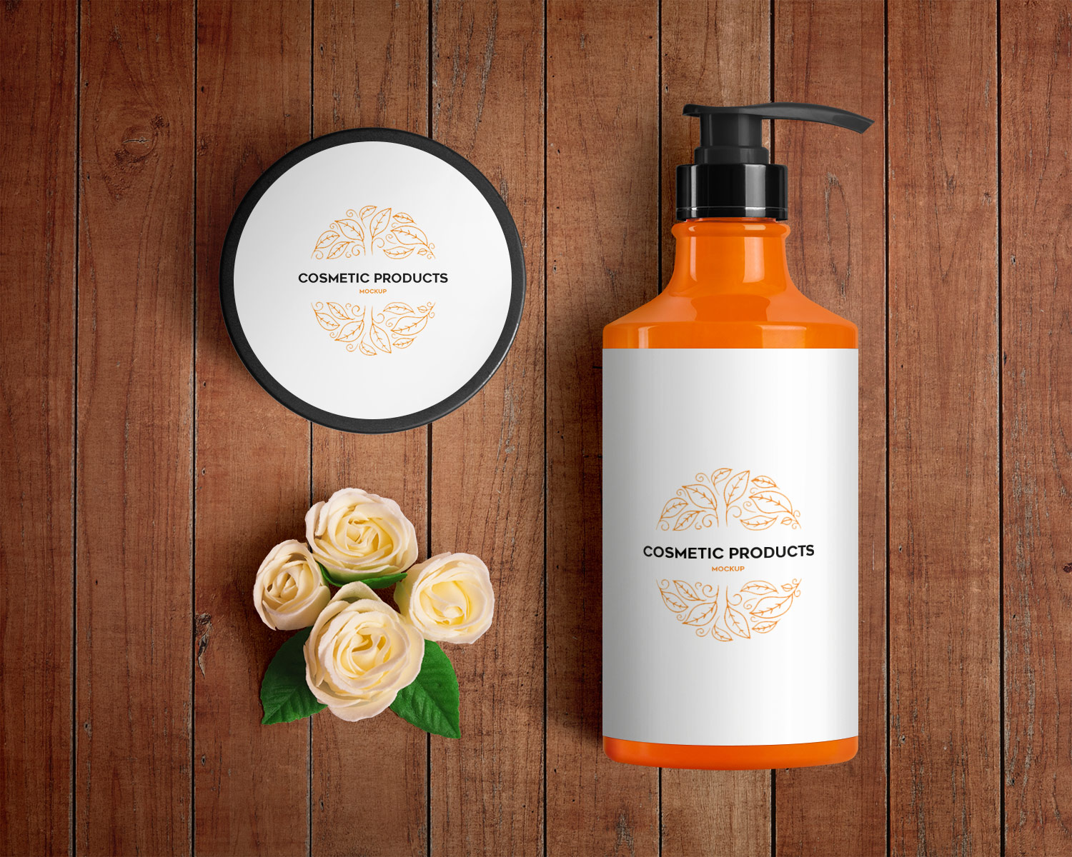 Cosmetic Bottles and Jar – Free PSD Mockup