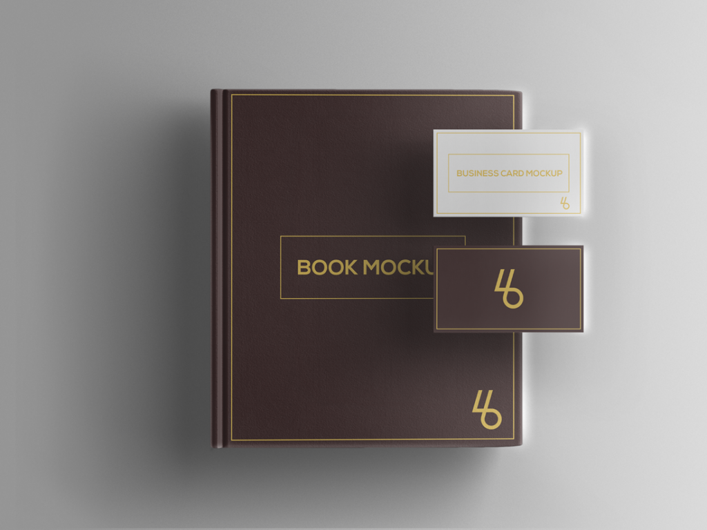 Free Book and Business Card PSD Mockup