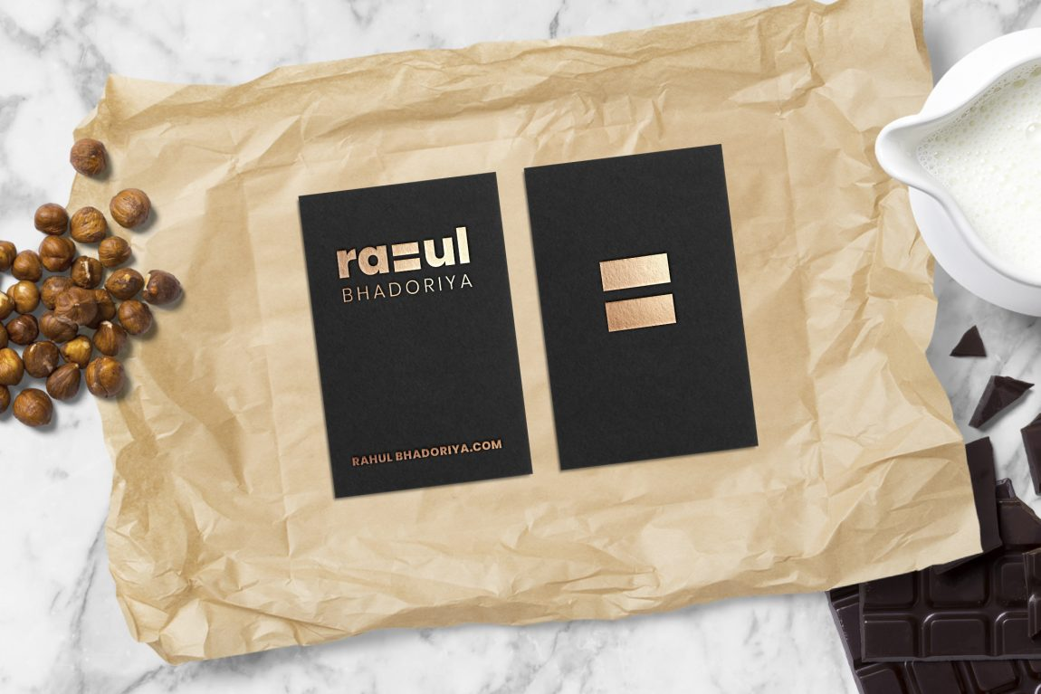 Free Business Card with Chocolate Mockup
