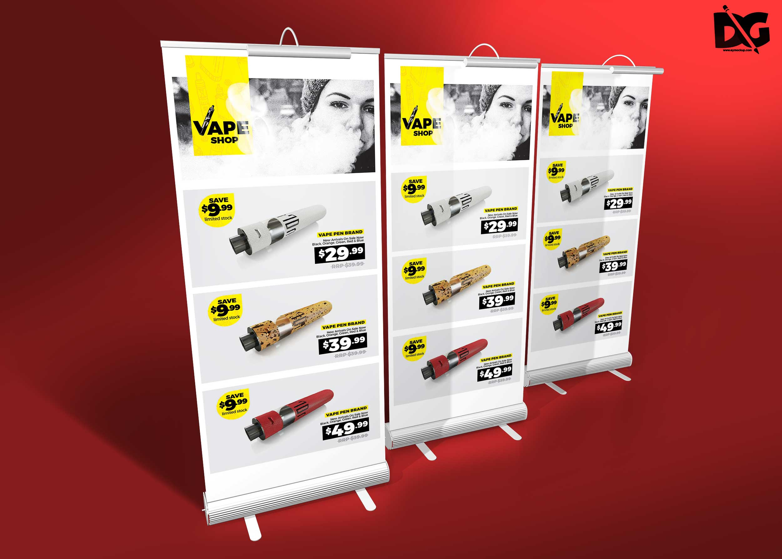 Free 3 Stand White Roll-up Banner Mockup