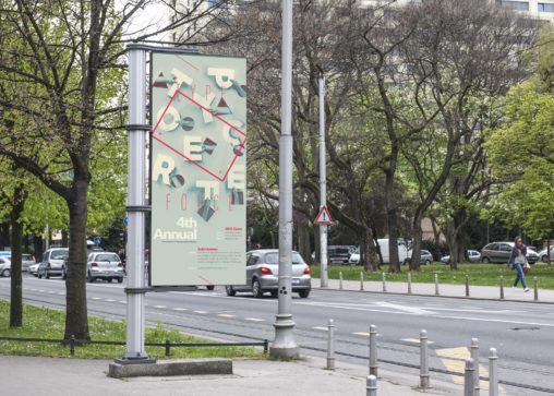 Free Outdoor Advertising Banner PSD Mockup
