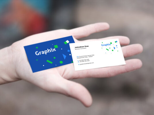 Business Cards in Hand Mockup