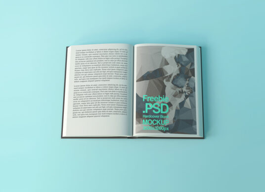Close View of Open Hardcover Book Mockup