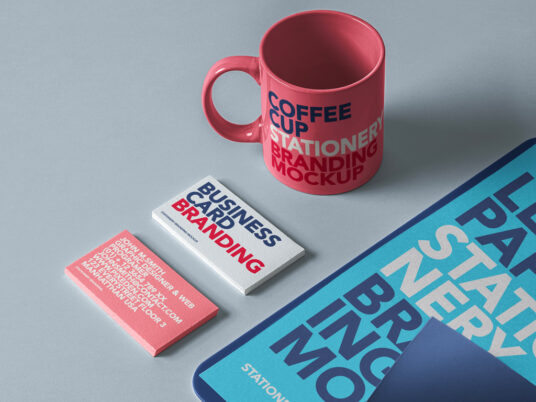 Stationery Branding Set with Cup Mockup