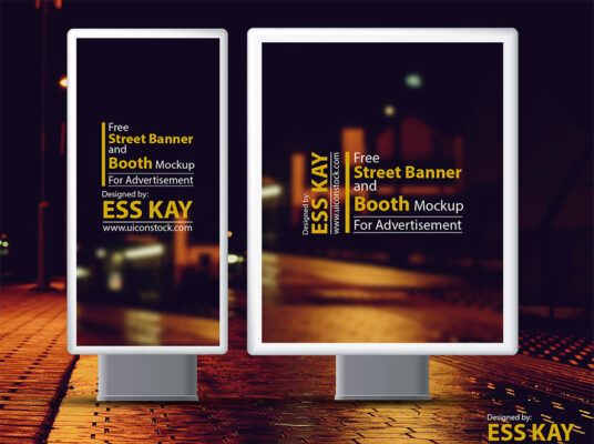 Street Banner and Booth Mockup